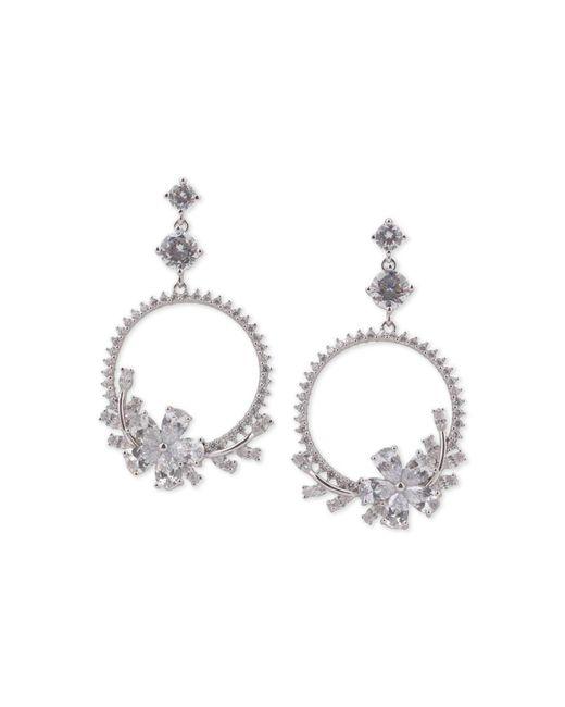 """Nina - Metallic Silver-tone Crystal Flower Drop 2-3/4"""" Hoop Earrings - Lyst"""