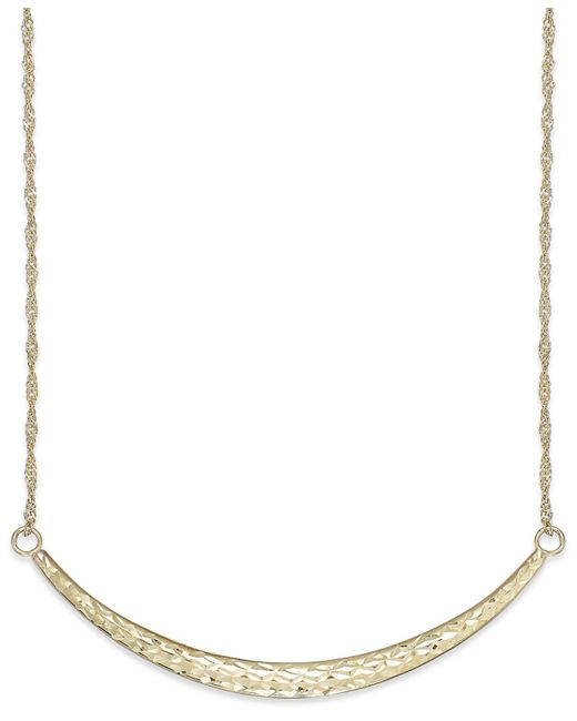 Macy's - Metallic Diamond-cut Curved Bar Pendant Necklace In 14k Gold - Lyst