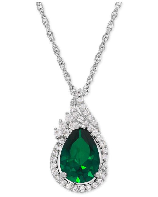 Macy's | Metallic Lab-created Emerald (1-3/4 Ct. T.w.) And White Sapphire (1/4 Ct. T.w.) Teardrop Pendant Necklace In Sterling Silver | Lyst