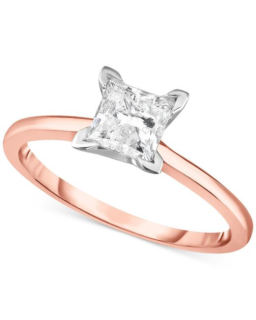 Macy's - Metallic Diamond Princess Solitaire Engagement Ring (1 Ct. T.w.) In 14k White Gold, Rose Gold Or Yellow Gold. - Lyst