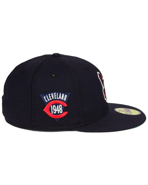 new product cd062 98a9f ... KTZ - Blue Cleveland Indians Retro World Series Patch 59fifty Fitted Cap  for Men - Lyst ...