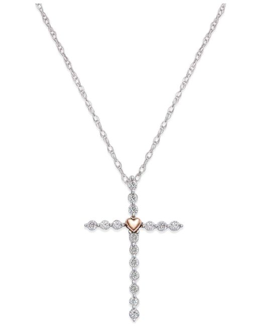 Macy's - Metallic Diamond (1/4 Ct. T.w.) Cross Necklace In Sterling Silver And 14k Plated Gold - Lyst