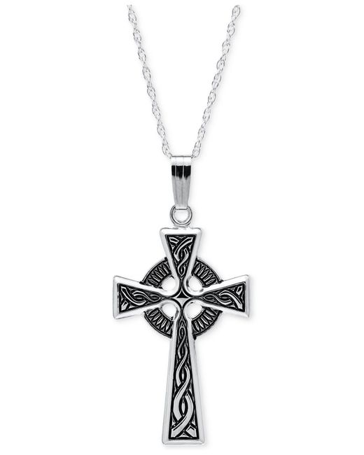 Macy's - Metallic Embossed Celtic Cross Pendant Necklace With Antique Finish In Sterling Silver - Lyst