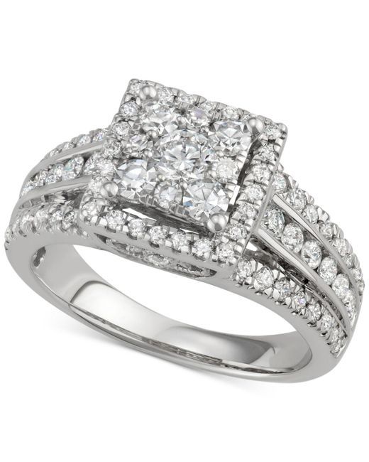 Macy's - Metallic Diamond Square Cluster Halo Engagement Ring (1-1/2 Ct. T.w.) In 14k White Gold - Lyst