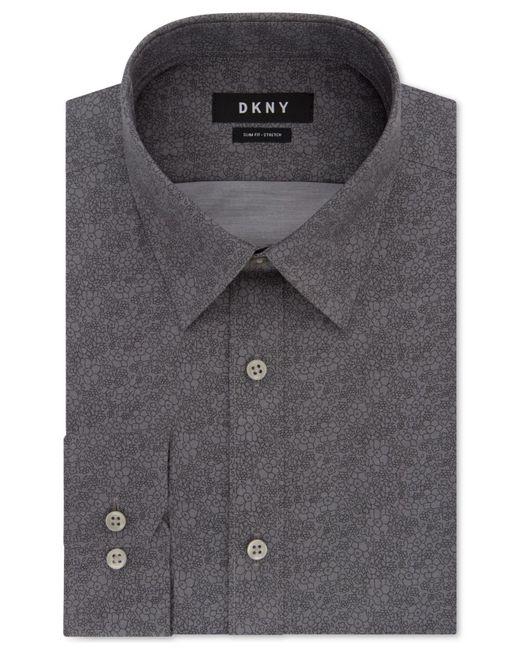 DKNY - Slim-fit Performance Stretch Gray Print Dress Shirt for Men - Lyst