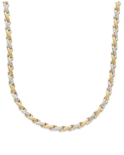 Macy's - X-necklace In 10k Yellow And White Gold - Lyst