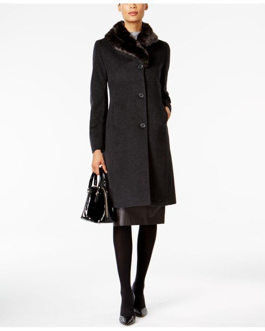 Jones New York - Black Faux-fur-trim Maxi Coat - Lyst