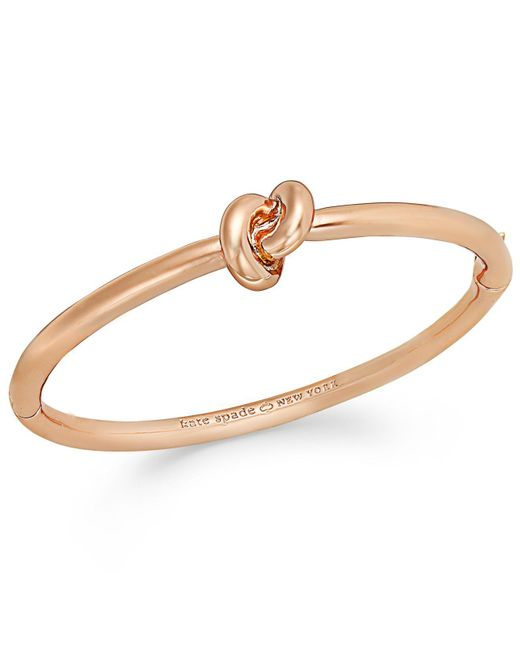 Kate Spade - Metallic Bracelet, 12k Gold-plated Sailor's Knot Hinge Bangle Bracelet - Lyst
