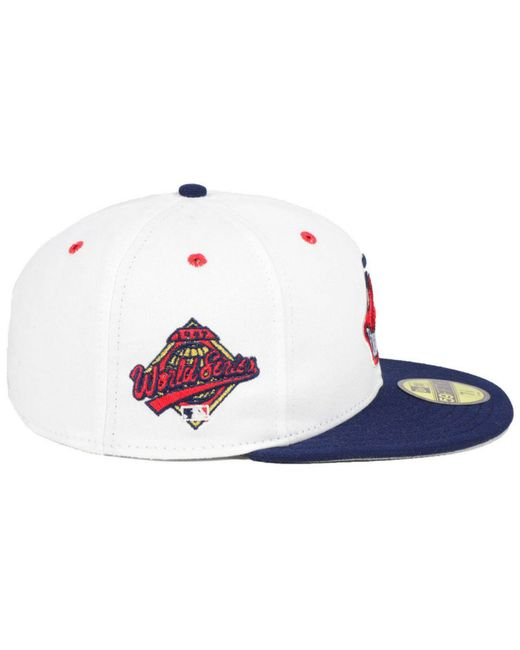 buy online a29d9 6cfe7 ... KTZ - White Cleveland Indians Retro World Series Patch 59fifty Fitted  Cap for Men - Lyst ...