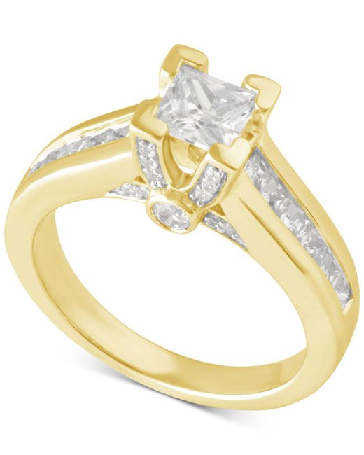Macy's - Metallic Certified Diamond Princess Cut Engagement Ring In 14k Gold Or White Gold (1-1/2 Ct. T.w.) - Lyst