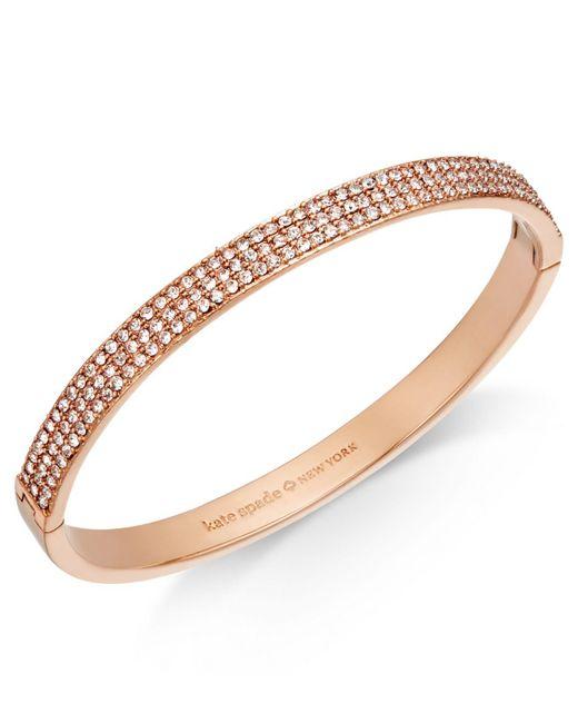 Kate Spade - Metallic Gold-tone Pavé Bangle Bracelet - Lyst