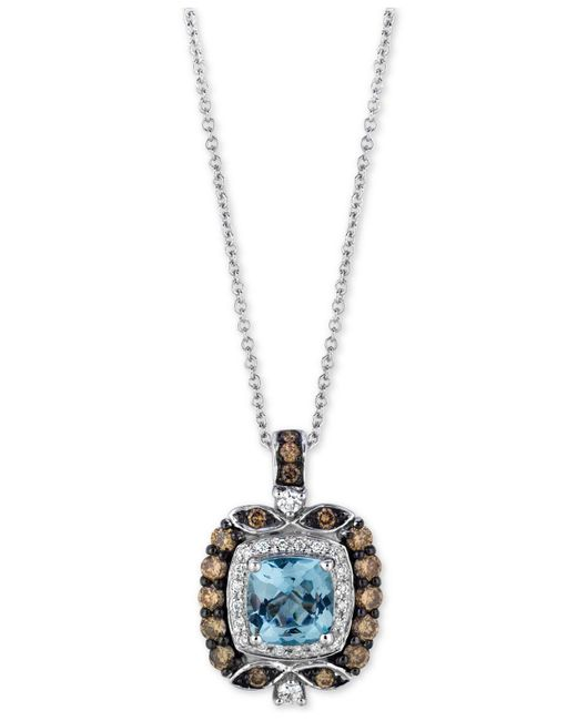 Le Vian - Metallic Aquamarine (3/4 Ct. T.w.) And Diamond (1/2 Ct. T.w.) Square Pendant Necklace In 14k White Gold - Lyst