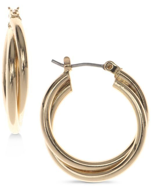 Nine West | Metallic Silver-tone Twisted Hoop Earrings | Lyst