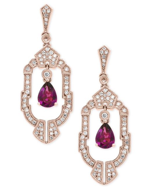 Effy Collection - Metallic Rhodolite Garnet (1-1/2 Ct. T.w.) And Diamond (1/2 Ct. T.w.) Earrings In 14k Rose Gold - Lyst