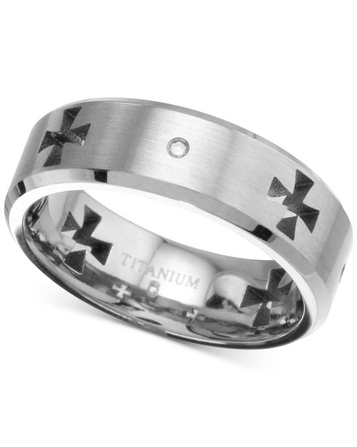 Macy's - Metallic Diamond Accent Cross Cutout Band In Titanium - Lyst