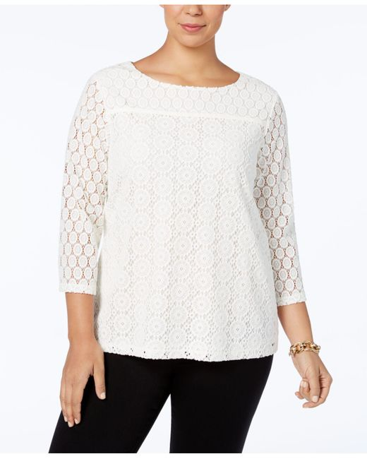 Charter Club | White Boat-neck Lace Top, Only At Macy's | Lyst