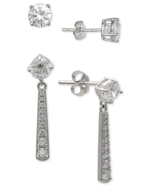 Giani Bernini - Metallic 2-pc. Set Cubic Zirconia Stud & Drop Earrings In Sterling Silver, Created For Macy's - Lyst