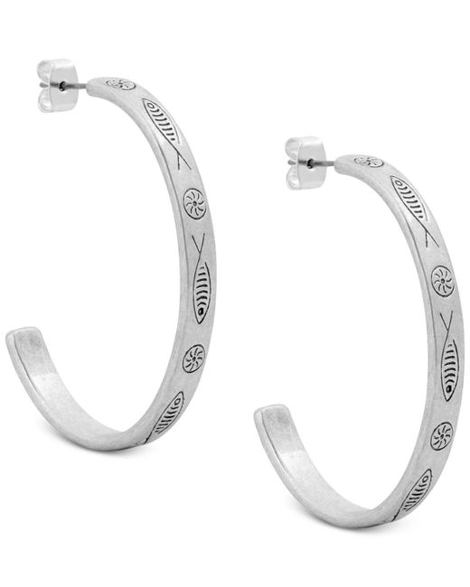 Lucky Brand - Metallic Silver-tone Fish-etched Open Hoop Earrings - Lyst