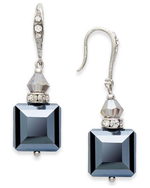 INC International Concepts | Black Earrings, Silver-tone Jet Square Bead Drop Earrings | Lyst