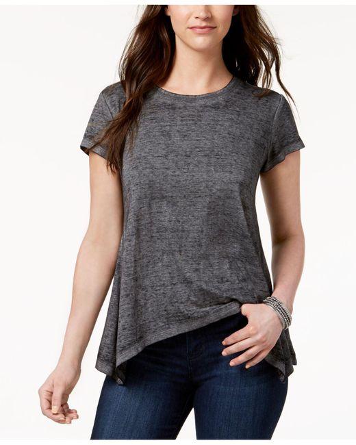 Style & Co. - Black Burnout Asymmetrical-hem T-shirt - Lyst