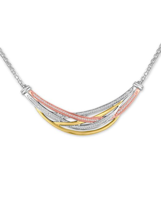 Macy's | Metallic Diamond Tri-color Weave Collar Necklace (1/4 Ct. T.w.) | Lyst
