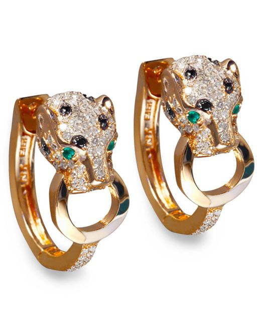 Effy Collection - Black And White Diamond (3/4 Ct. T.w.) And Emerald Accent Panther Hoop Earrings In 14k Rose Gold - Lyst