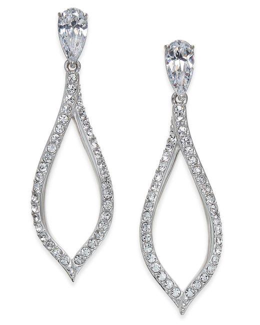 Danori - Metallic Silver-tone Pavé Drop Earrings - Lyst