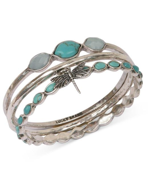 Lucky Brand   Metallic Bracelet Set, Silver-tone Turquoise Dragonfly Bangle Bracelets   Lyst