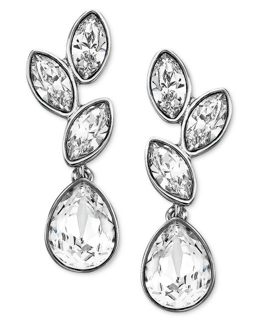 Swarovski | Metallic Earrings, Rhodium-plated Crystal Cluster Drop Earrings | Lyst