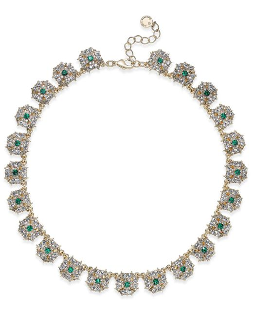 Charter Club | Metallic Gold-tone Blue & Clear Crystal Necklace | Lyst