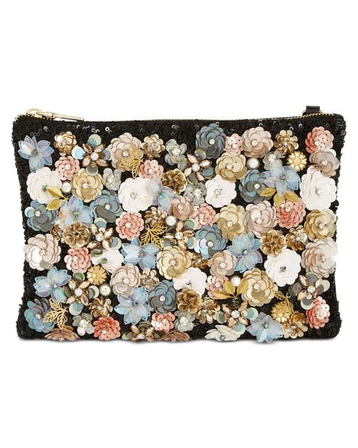 Steve Madden | Black Aloha Small Pouch With Floral Appliqué | Lyst