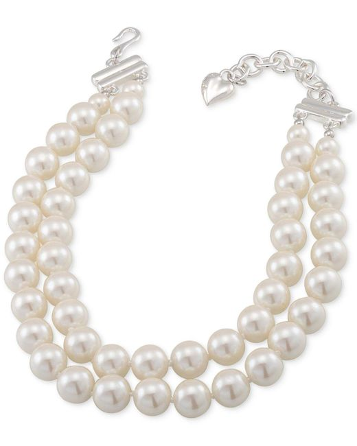 Carolee - Metallic Silver-tone Imitation Pearl Adjustable Choker Necklace - Lyst
