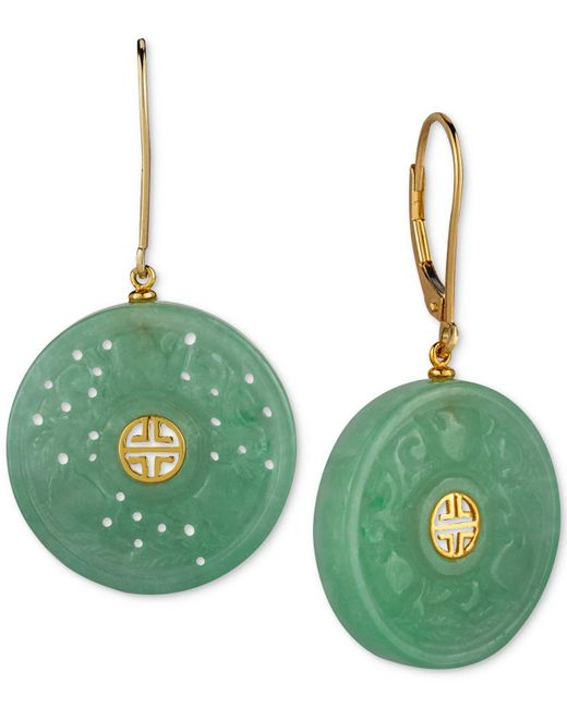 Macy's - Metallic Dyed Jade (22mm) Carved Ornamental Disc Drop Earrings In 14k Gold-plated Sterling Silver - Lyst