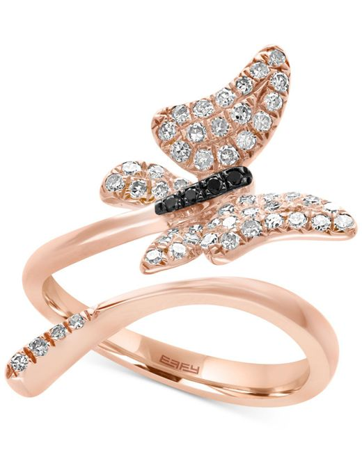 Effy Collection | Multicolor Diamond Butterfly Ring (3/8 Ct. T.w.) In 14k Rose Gold | Lyst