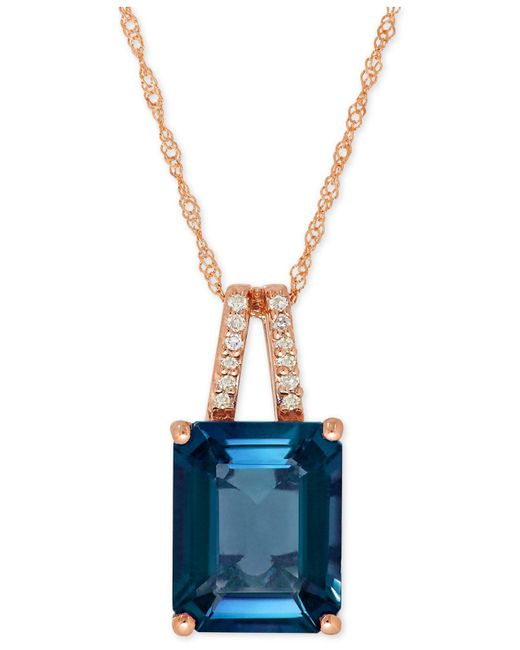 Macy's - London Blue Topaz (4 Ct. T.w.) And Diamond Accent Pendant Necklace In 14k Rose Gold (also Available In Amethyst) - Lyst