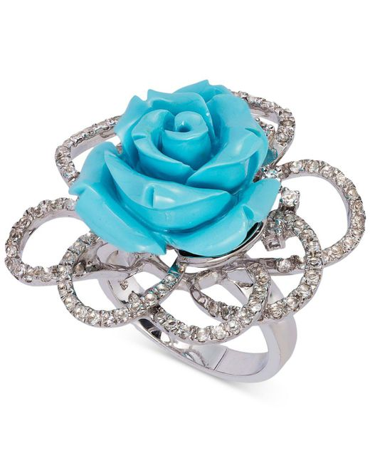 Le Vian | Metallic Manufactured Turquoise (10 Ct. T.w.) And White Topaz (3/4 Ct. T.w.) Rose Ring In Sterling Silver | Lyst