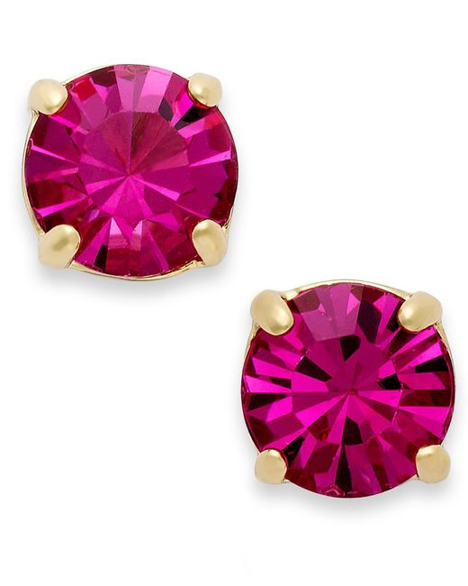Kate Spade | Pink , 12k Gold-plated Crystal Round Stud Earrings | Lyst