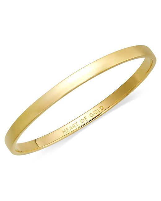 kate spade new york | Metallic Bracelet, 12k Gold-plated Heart Of Gold Idiom Bangle Bracelet | Lyst