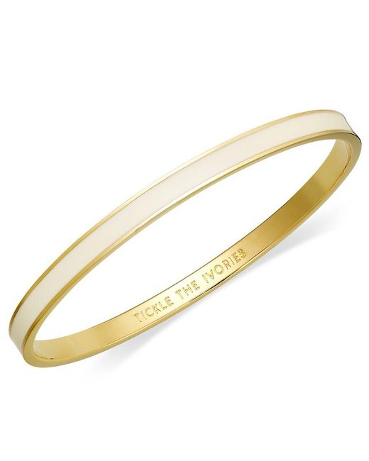 kate spade new york | Metallic Bracelet, 12k Gold-plated Cream Enamel Tickle The Ivories Idiom Bangle Bracelet | Lyst