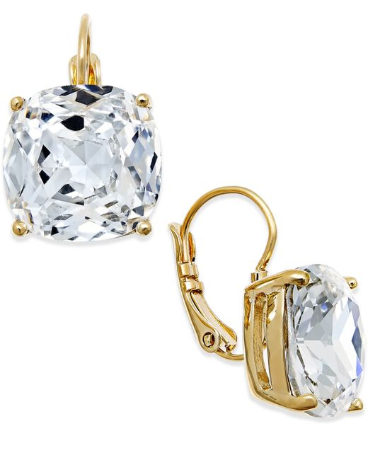 Kate Spade | Metallic Gold-tone Crystal Square Leverback Earrings | Lyst