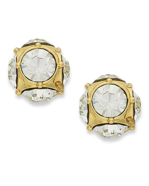 Kate Spade | Metallic Earrings, 12k Gold-plated Crystal Stud Earrings | Lyst