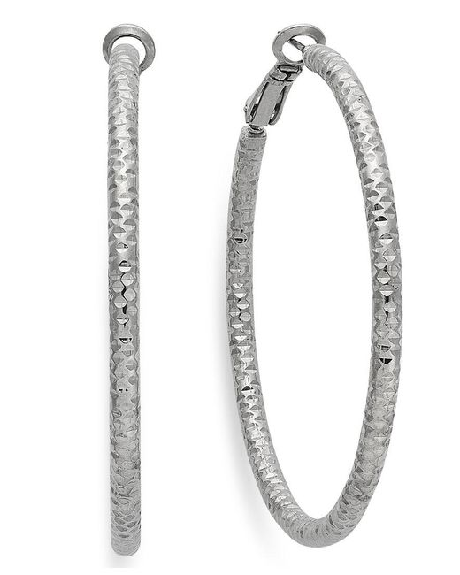 INC International Concepts | Metallic Silver-tone Small Textured Hoop Earrings | Lyst