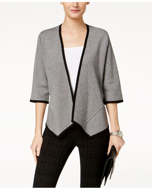 Alfani | Gray 3/4-sleeve Asymmetrical Cardigan | Lyst