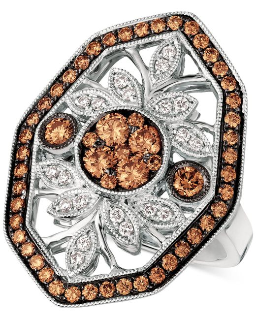 Le Vian - Multicolor Chocolatier® Chocolate Decotm Diamond Statement Ring (1-1/8 Ct. T.w.) In 14k White Gold - Lyst