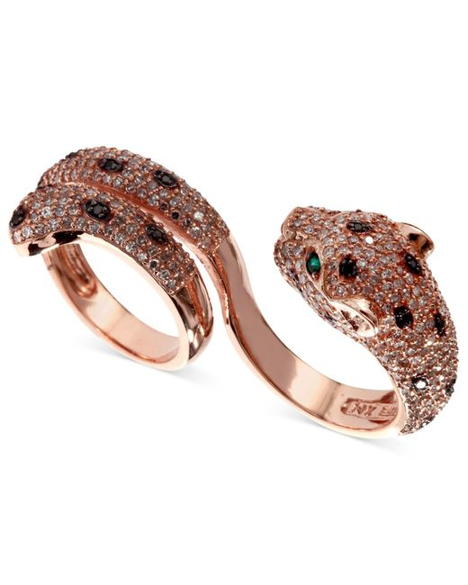 Effy Collection   White (1-3/4 Ct. T.w.) And Black Diamond (1/8 Ct. T.w.) And Emerald Accent Panther 2 Finger Ring In 14k Rose Gold   Lyst