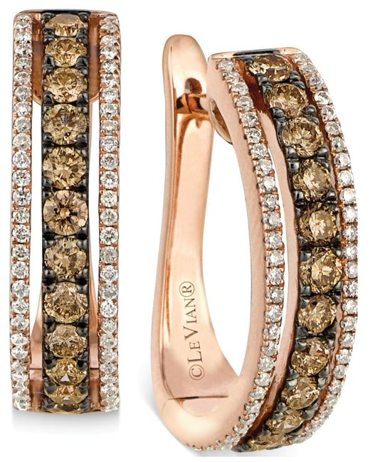 Le Vian - Brown Chocolate And White Diamond Hoop Earrings In 14k Rose Gold (9/10 Ct. T.w.) - Lyst