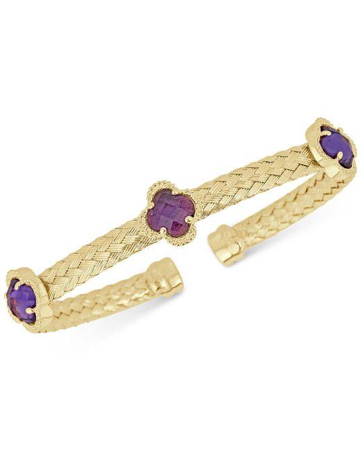 Macy's - Metallic Amethyst Woven Cuff Bracelet (3-1/3 Ct. T.w.) In 14k Gold-plated Sterling Silver - Lyst