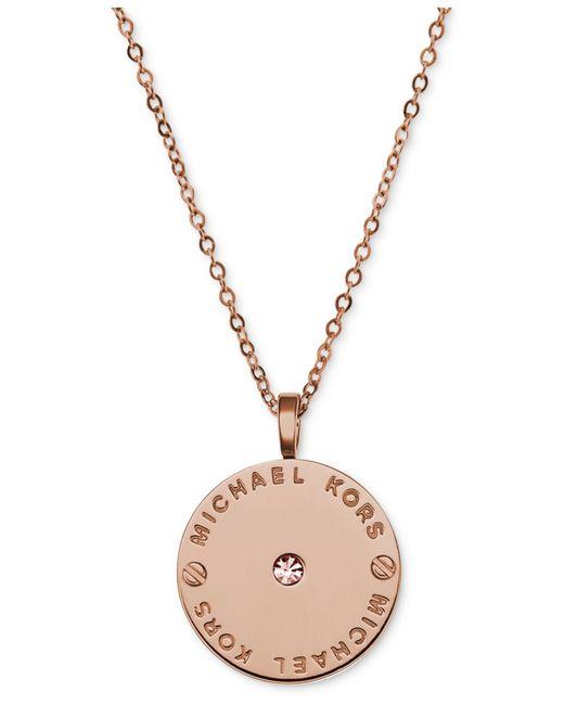 Michael Kors | Pink Logo Plate Disc Pendant | Lyst