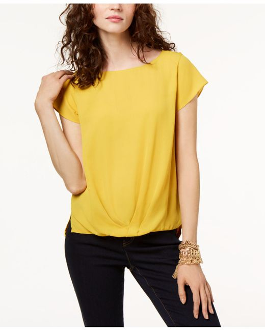 INC International Concepts - Yellow Draped-hem Top, Created For Macy's - Lyst