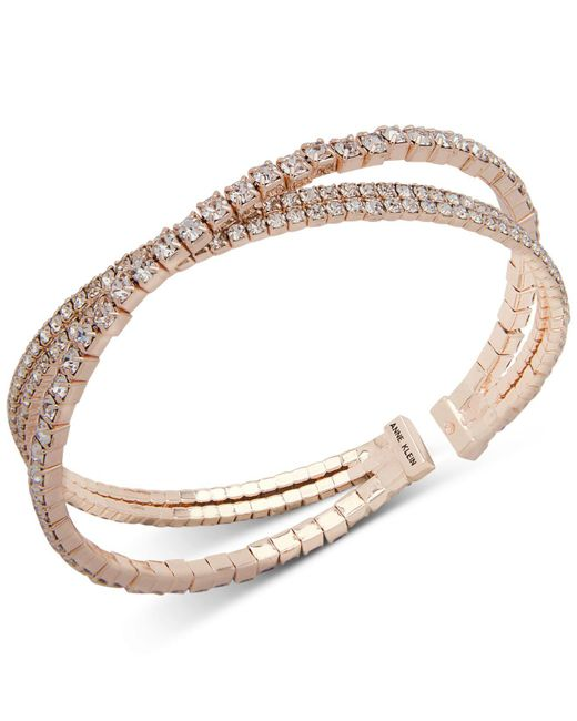 Anne Klein - Metallic Crystal Crisscross Coil Cuff Bracelet - Lyst